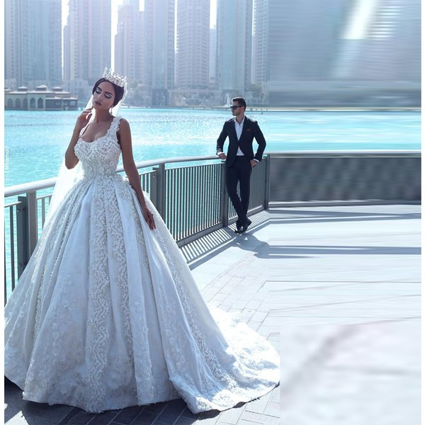 Роскошные кружева бальное платье Свадебные платья милая аппликация органза рукавов трапеция свадебные платья собор жемчуг спинки свадебное платье