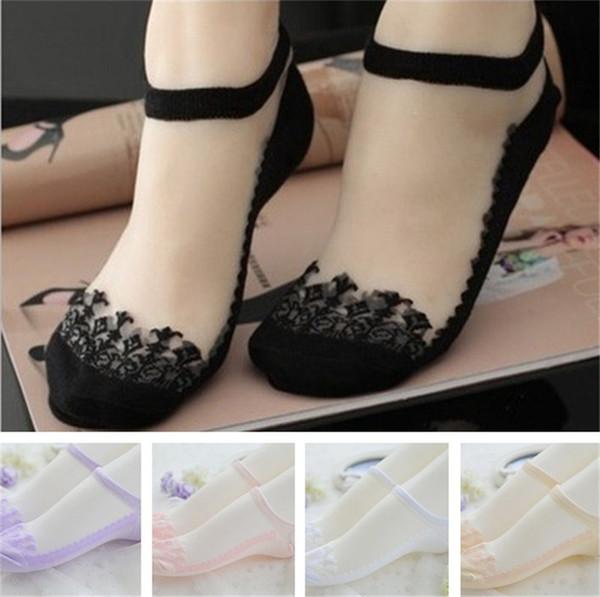 New Fashion Colorful Ultrathin Socks Transparent socks sweet Crystal Lace Elastic Short Women Socks for Women free shipping B1152