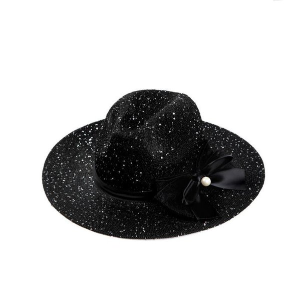 Good A++ Spring and summer Korean version of the high-end hollow shade jazz hat ladies big pearl sequins fashion beach hat DMB030