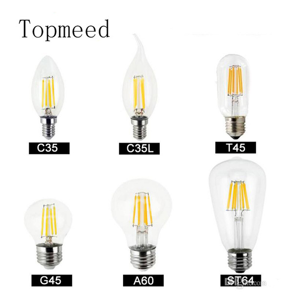 Dimmable led bulbs Filament bulb 4w 8w 12w 16w High Power Glass globe bulb 110V 220V 240V Retro led Edison lamp candle lights
