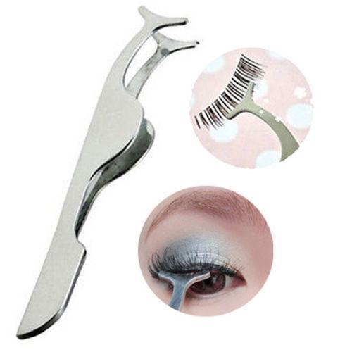 Wholesale-Stainless Multifunctional Beauty False Eyelashes Tools Auxiliary Tweezers Clip Eyelash Curler)