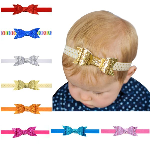 8 color Bowknot Headbands Girls Sweet Kids Hair Bows Sequins Bow Children Hair Bands Accessories Glitters Girl Hair Band 50pcs/lot A6266