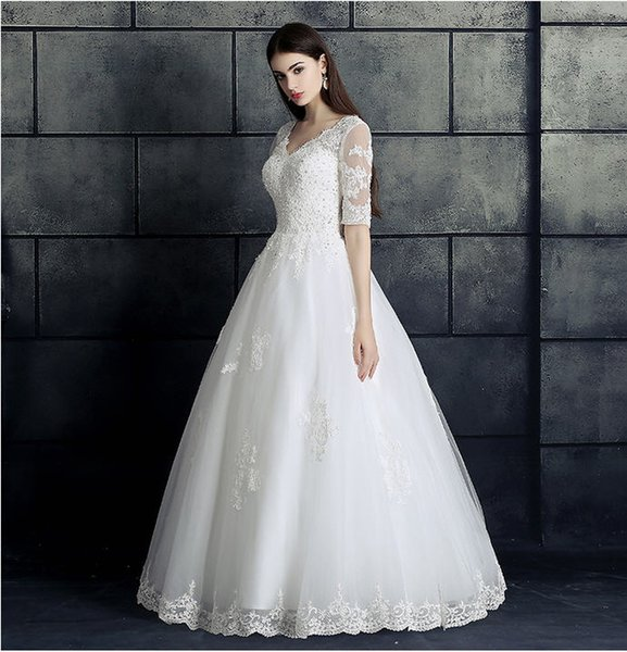 Lace Country Beach Wedding Dresses 2017 Simple White Gowns Half Sleeve Floor-Length Sequined Bridal Wear Cheap From China Free Shipping