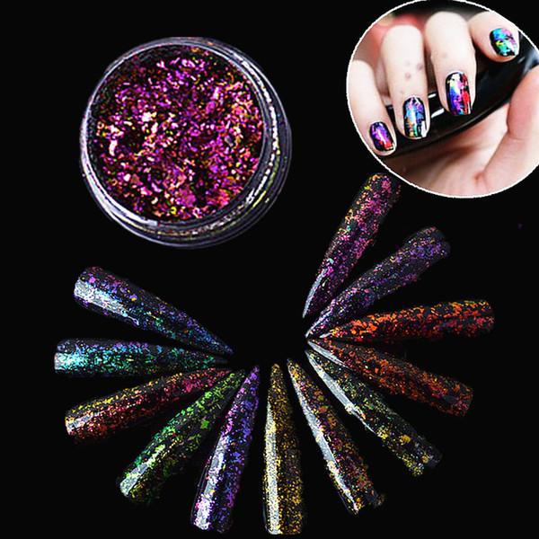 17 colores 2 g / caja del arte del clavo del brillo en polvo camaleón uñas paillette escamas ultra-delgada del arte del clavo del brillo lentejuelas decoración en polvo