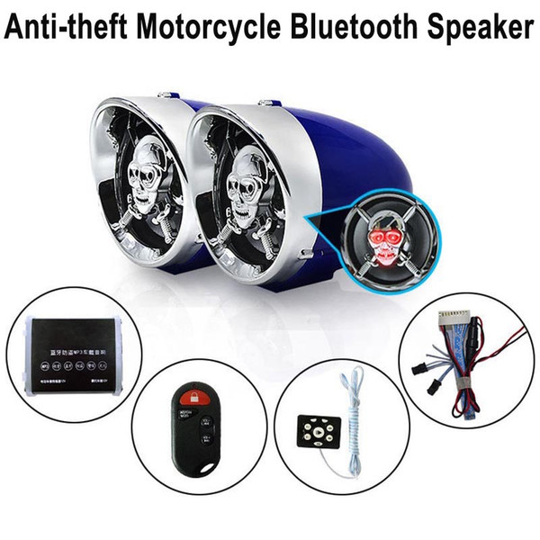 best selling 3 inch Skull Motorcycle Bluetooth Audio FM Radio Car Amplifier Speaker Hi-Fi Sound Anti-theft Alarm MP3 USB Phone Charger