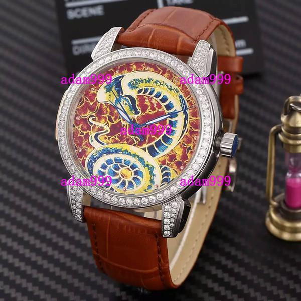 Marca suíça Atacado Negócios de luxo Stainless Diamond Bezel Dial Men Relógio de couro Mens Movimento automático Relógios mecânicos de pulso Snake