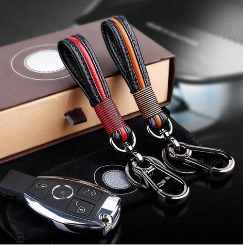2017 Mode En Cuir Véritable Intertexture Styling Voiture Auto Home Use Key Chain Key Ring Porte-clés Anneau En Acier Inoxydable Bon Cadeau Conception Spéciale