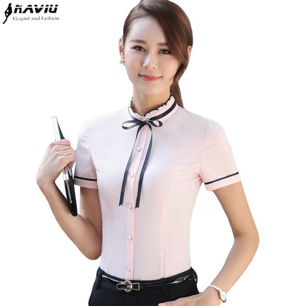 NAVIU Elegant Fashion OL summer Formal bow shirt women stand collar slim chiffon blouses office ladies plus size work wear tops