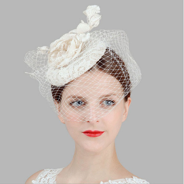 solid veil fascinator flower hairpin women's white lace linen top hats party pillbox fedoras rose Hair Clip wedding headwear
