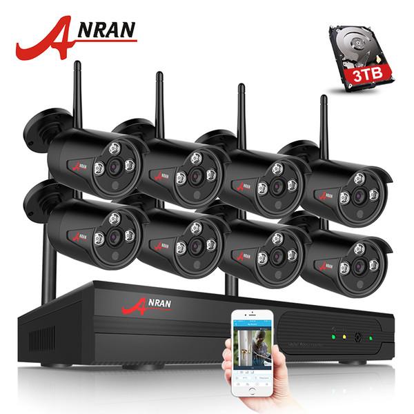 ANRAN 8CH CCTV System Wireless 1080P NVR 8PCS 2.0MP IR Outdoor Waterproof P2P Wifi Security Camera System Surveillance Kit 3TB HDD Optional