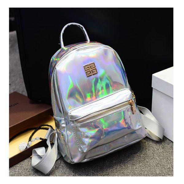 Оптовая продажа-новое прибытие голограмма лазерный рюкзак девушки школьная сумка женщины Радуга красочные металлические серебряные лазерные голографические рюкзак, MF1619
