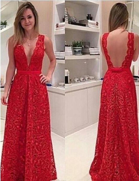 2017 Sexy Red Lace Evening Dresses Sheer Backless Plunging V Neck Floor Length Prom Gowns Formal Celebrity Holiday Party Dresses