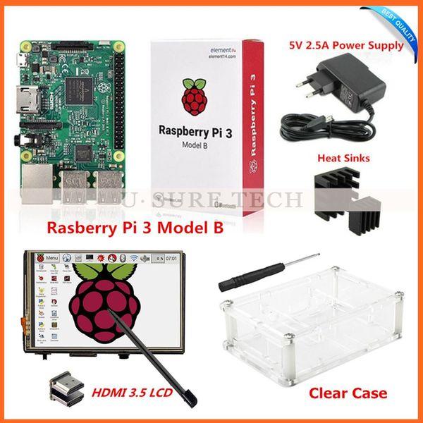"Freeshiping Raspberry Pi3 Model B Board+3.5"" LCD HDMI Screen Monitor Display TFT LCD Module 1920x1080+5V 2.5A Power Supply +Heat Sinks+ Case"