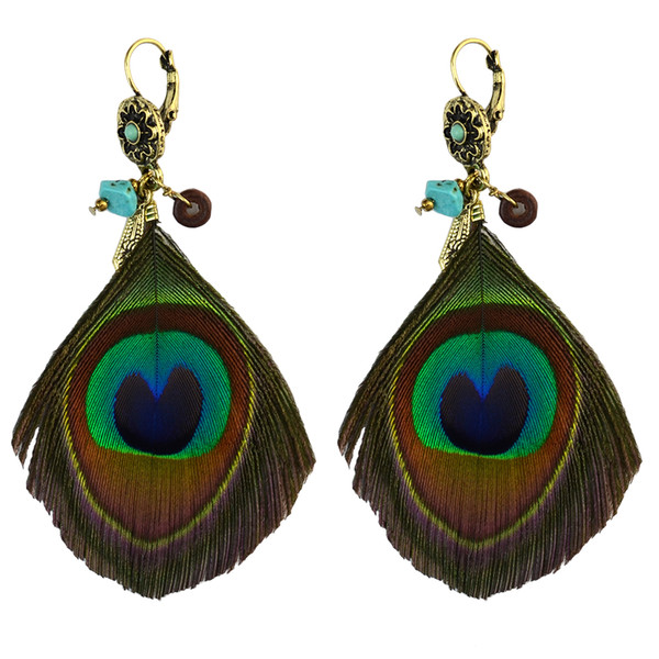 Bohemian Handmade Green Peacock Tail Feder Tropfen baumeln Ohrringe