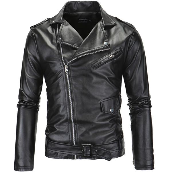 2018 Großhandel Ledermäntel Herren Reißverschluss Einfarbig Dünne Männer Neue Mode Motorrad Von Umlegekragen Beiläufige Lederjacke Jacke 3RL5A4j