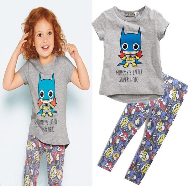 Whosale girls summer t-shirt children summer cotton clothes sets Ins explosion girl Batman T-shirt hero Leggings suit baby cartoon suits