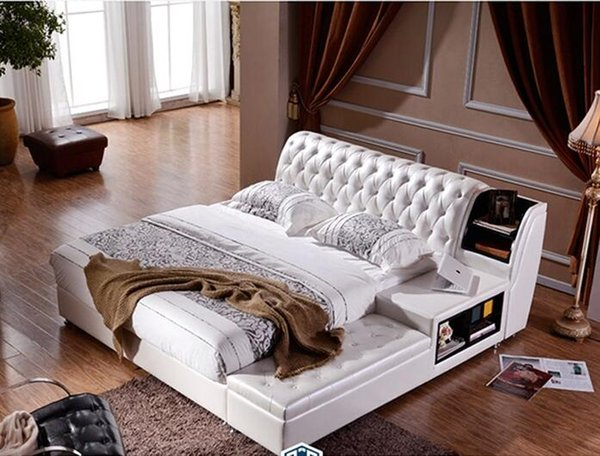 Großhandel Viele Farben Designer Modernes Echtes Echtes Leder Bett /  Weiches Bett / Doppelbett König / Queen Size Schlafzimmer Wohnmöbel Heißer  ...
