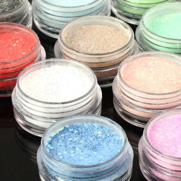 Großhandel-18 Teile / satz Farben Glitter Power Staubspitze Strass Pailletten Für UV GEL Acryl DIY Nail art polnisch Dekorationen Tipps M01272