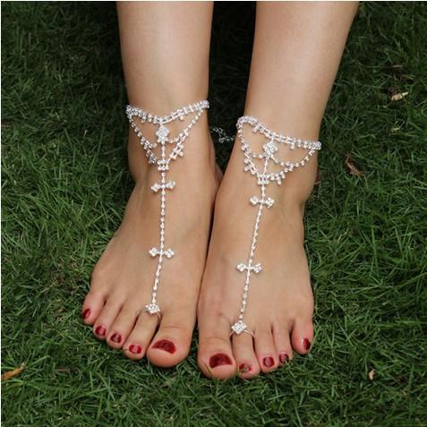 Rhinestone sandalias descalzas Bridemaids playa joyería de la boda anillo del dedo del pie tobillera cadenas del pie pulseras del tobillo cadenas nupciales del pie