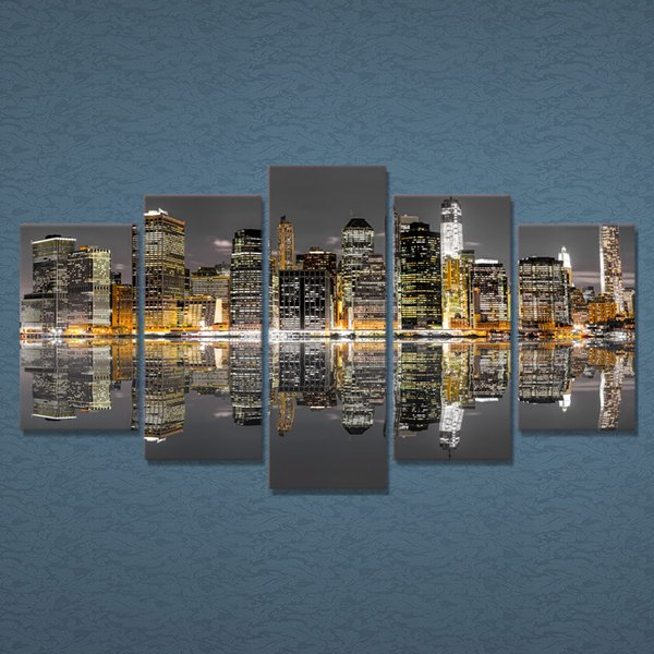 City Building Water Reflection Canvas Painting 5 Piece Unframed Living room Wall Pictures Home decor Print Poster