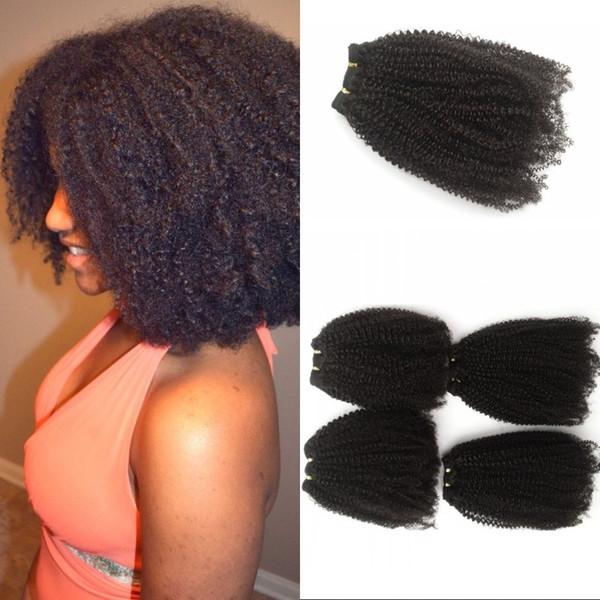 4 Peças Cabelo Virgem Malaio Tecelagem Afro Kinky Curly Cabelo Humano Pacotes de Trama 8-30 polegada Frete Grátis FDSHINE