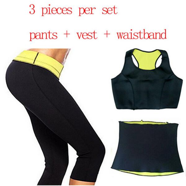 Súper estiramiento Mujeres Hot Neopreno Body Shaper Set Sauna Adelgaza Abdomen Belly Belt Control Chaleco Cinturón de cintura y pantalón en 1 Set