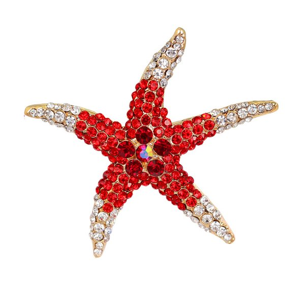 Free shipping wholesale Crystal Rhinestones Starfish Brooch Pin for women dress jewelry red/blue/green full crystal star brooches