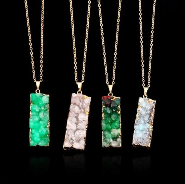 Natural stone rectangle crystal pendant necklace Collarbone chain fashion accessories Free shipping