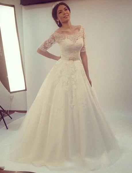 2017 vestidos de novia Vintage Wedding Dresses Scoop A Line Lace ...
