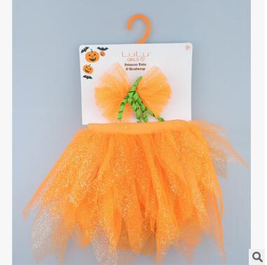 Halloween Costume Newborn Baby Pumpkin Gold Dust Princess TuTU Headwrap Baby Girls Photo Props Clothes Pumpkin TUTU Skirts Headbands