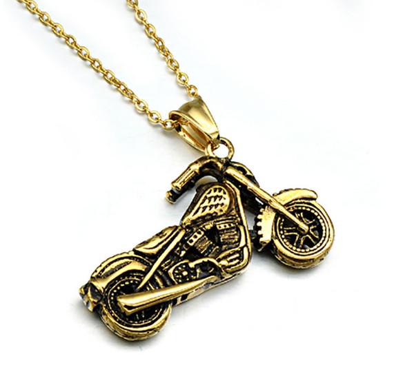 Мужская панк стиль ювелирные изделия прохладный нержавеющей стали позолоченные мини мотоцикл ожерелье кубинский цепи ожерелье хип-хоп ювелирные изделия