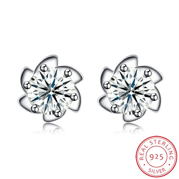 Fancy Trendy Flower Stud Clear Zircon Stone Sterling 925 Silver Earring For Girl Made in China Free Shipping