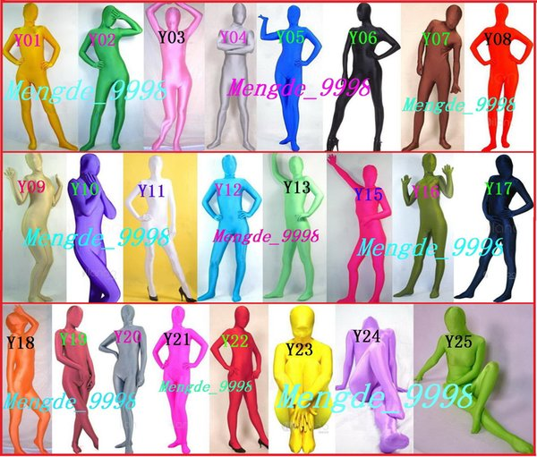 New Unisex Lycra Spandex Full Body Suit Costumes Sexy Catsuit Costumes 24 Color Unisex adult Size Outfit Halloween Cosplay Suit M019