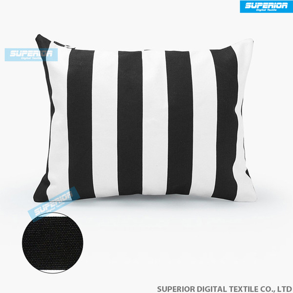 200pcs/lot Decorative Cotton Canvas Square Throw Pillow Cushion Cover Handmade Black and White Stripe Toss Pillowcase with Hidden Zipper