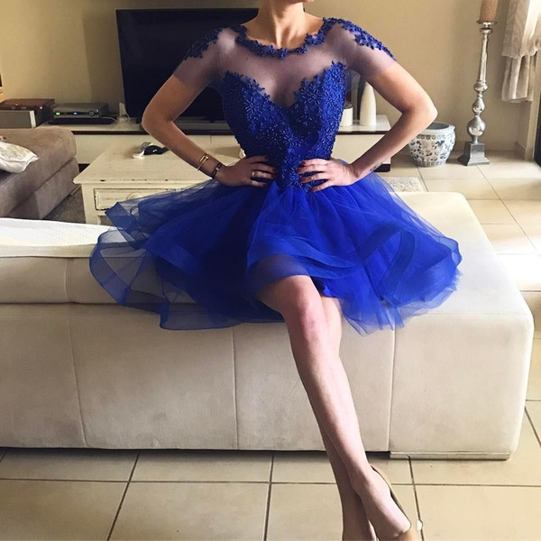 top popular Hot Sale Royal Blue Homecoming Dress Sheer Neck Short Sleeves Lace appliques Beaded Short Prom Dresses Backless Cocktail Party Gowns 2020