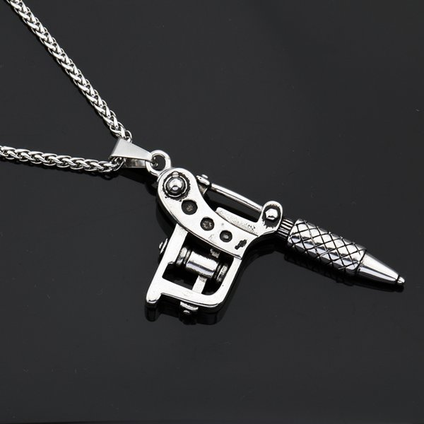 Goofan hiphop tattoo machine pendant necklace stainless steel goofan hiphop tattoo machine pendant necklace stainless steel fashion jewelry for men women gift stn083 aloadofball Images