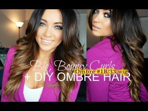 Ombre Curly Lace Wig!Brazilian Ombre Full Lace Wig Hu man Hair Two Tone Ombre Curly Lace Front Wig #1B #30 For Hot Black Women
