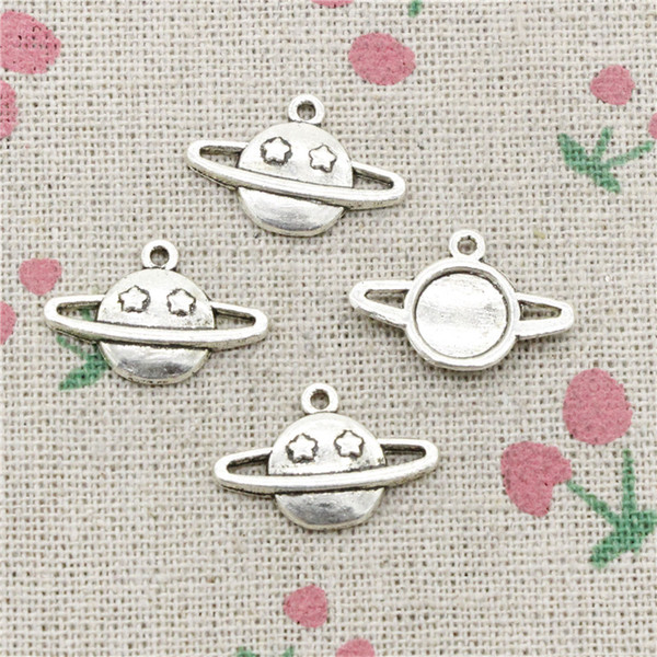 144pcs Charms saturn planet spark star 13*17mm Antique Silver Pendant Zinc Alloy Jewelry DIY Hand Made Bracelet Necklace Fitting