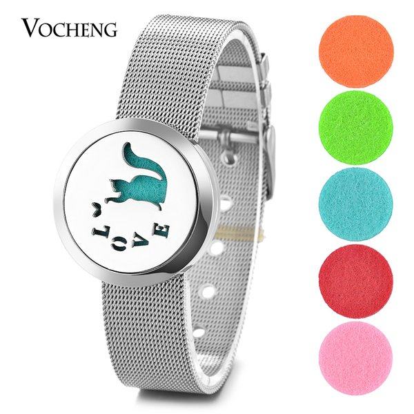 Aromatherapy Locket Bracelet Perfume 316L Stainless Steel Magnetic Watch Band Love Cat without Felt Pads VA-291
