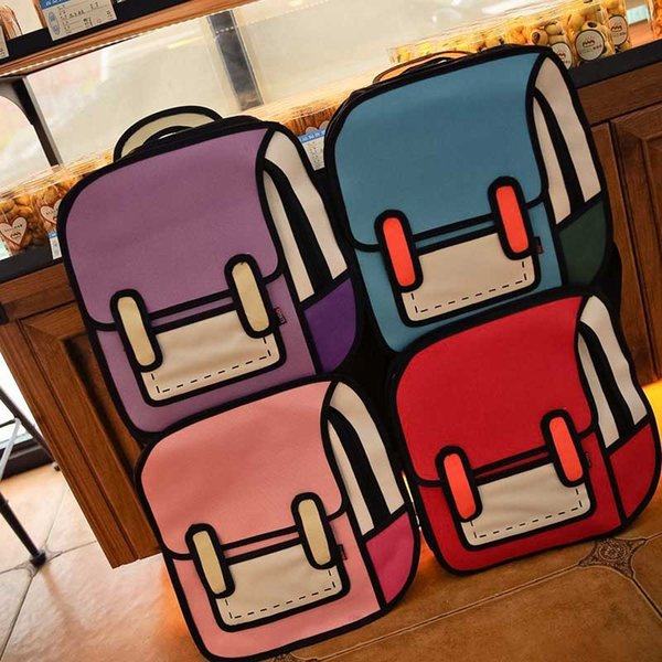 Wholesale- Women Funny Bag Cartoon Package 3D Three-dimensional Bag 2D Backpack New Fashion Popular