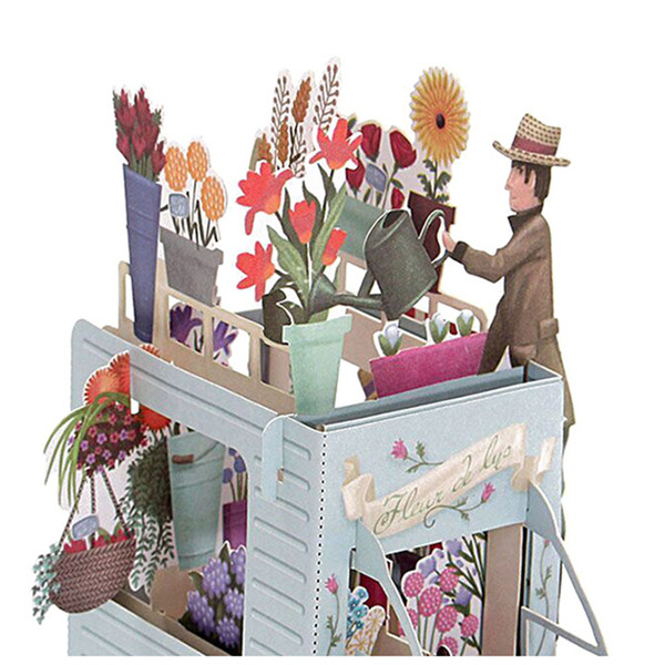 Venta al por mayor- Flor Pareja 3D corte láser emergente Tarjetas de felicitación personalizadas Impresión hecha a mano diseños de cumpleaños deseos suministros para fiestas 5014