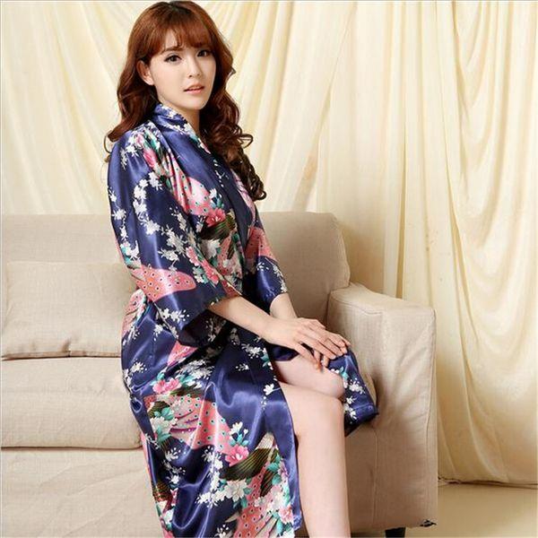 Atacado- novo design da marca de seda quimono roupão de banho das mulheres de seda vermelha robe de dama de honra sexy robes de cetim roupão longo senhoras vestidos de festa XXXL