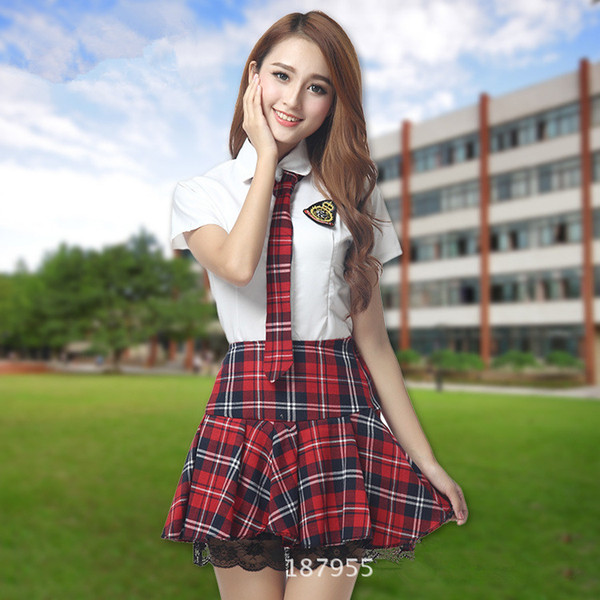 966aa3d8996fc5 Acheter Uniforme Scolaire Japonais Pour Les Femmes Étudiants Filles  Uniforme Scolaire Coréen D'été Chemise Blanche + Plaid Dentelle Jupe ...