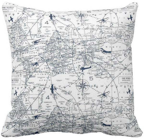 Astounding Throw Pillow Case Black And White World Aviation Map Print Squar Sofa And Car Cushions Cover 16Inch 18Inch 20Inch Pack Of X Outdoor Wicker Seat Gmtry Best Dining Table And Chair Ideas Images Gmtryco