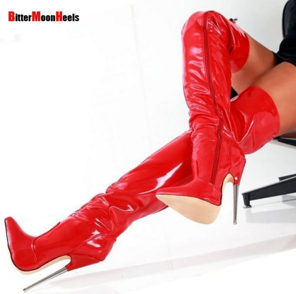 O Envio gratuito de NOVAS Mulheres Botas de Inverno de Salto Alto Sapatos de Couro de Patente Bota Homens Estiramento Sexy Crotch Bota Bota apontou dedo do pé Plus Size 18 cm