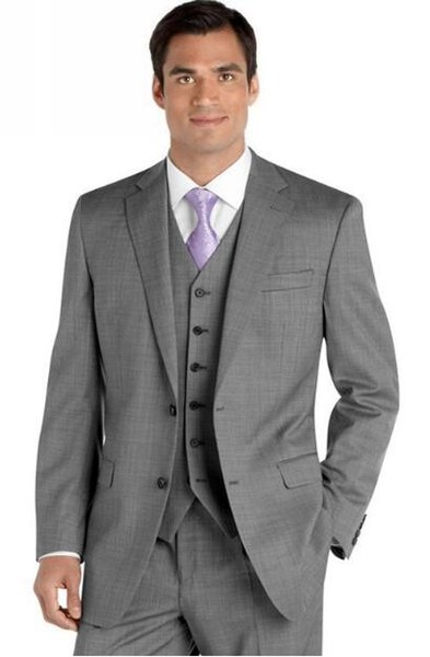 Cheap Gray Sharkskin Groom Suit Custom Made Grey Two Tone Woven ...