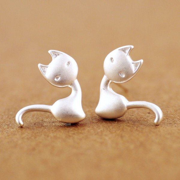 5 pairs/lot New Hot Sale Pure 925 Sterling Silver Lovely Cat Kitten Stud Earrings Women Statement Jewelry Pendientes Brincos