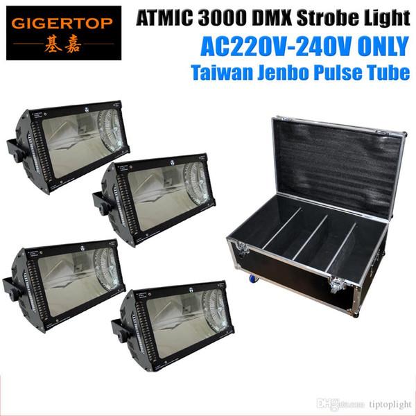 Flug Fall Verpackung 4 XLot 220 V-240 V Atom 3000 Watt Martin Strobe Light Big Power Blitzlicht für Disco Equipment Gas Puls Rohr