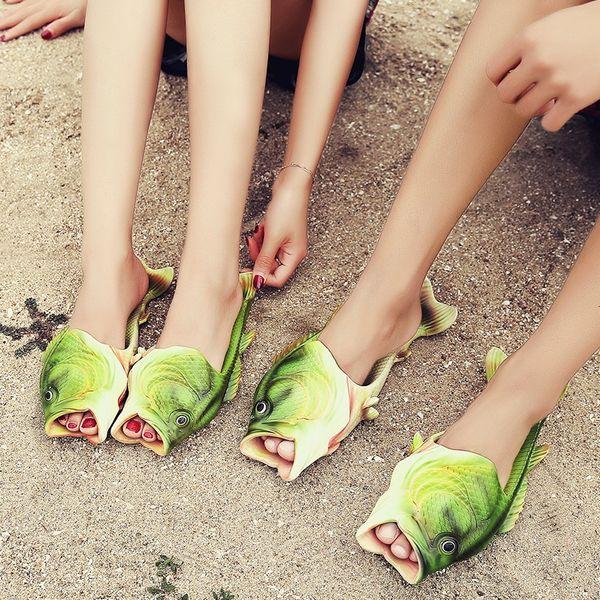 2017 New Arrival Creative Funny Fish Shape Slippers Women Summer Fish Flip Flops Hand-Printing EVA Slides Beach Slippers