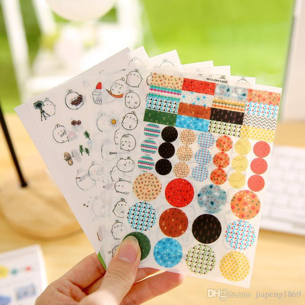 6sheets/pack Lovely Cartoon Rabbit Stickers Creative Cute Molang Planner Journal Notebook Scrapbooking Diary Decoration Stickers